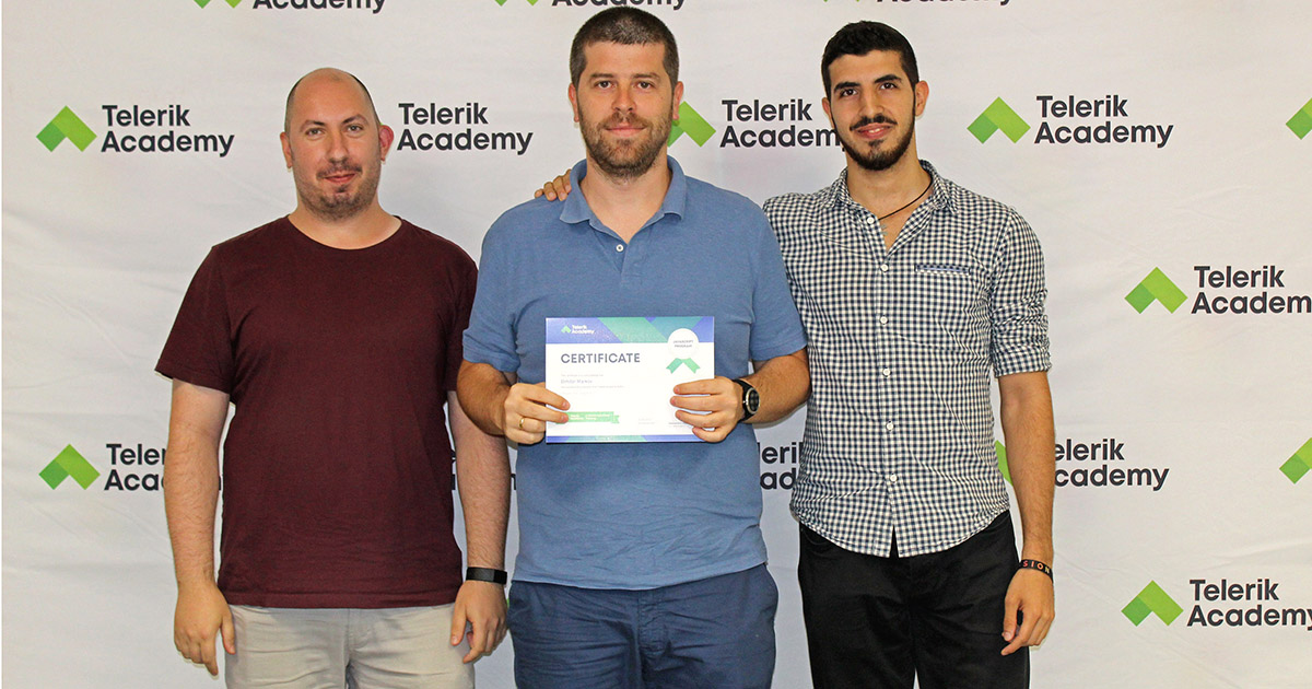 Dimitar with his trainers during Telerik Academy Alpha graduation