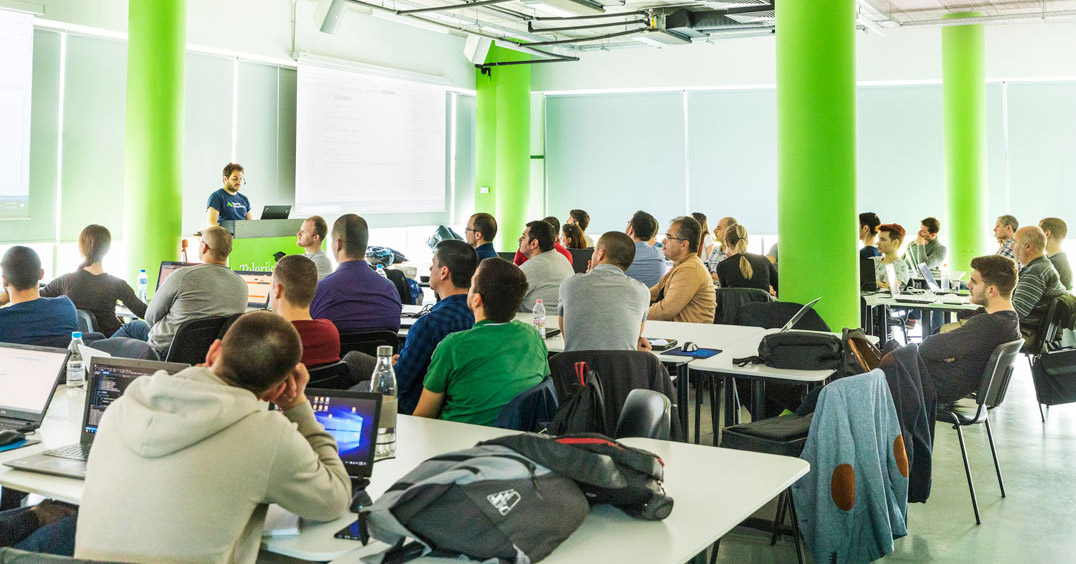 Students in a hall during lecture by Telerik Academy trainer