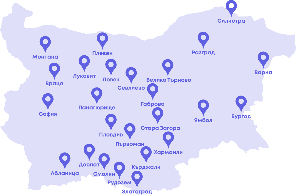 Bulgarian map of Telerik Academy School