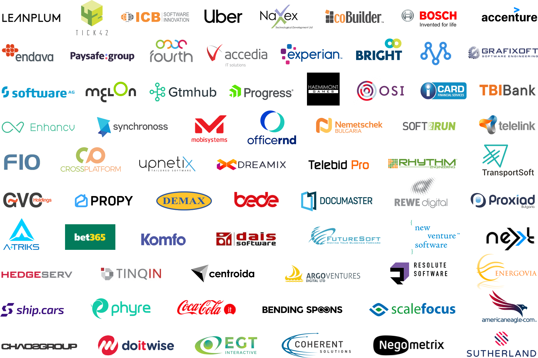 List with the logos of Telerik Academy partners