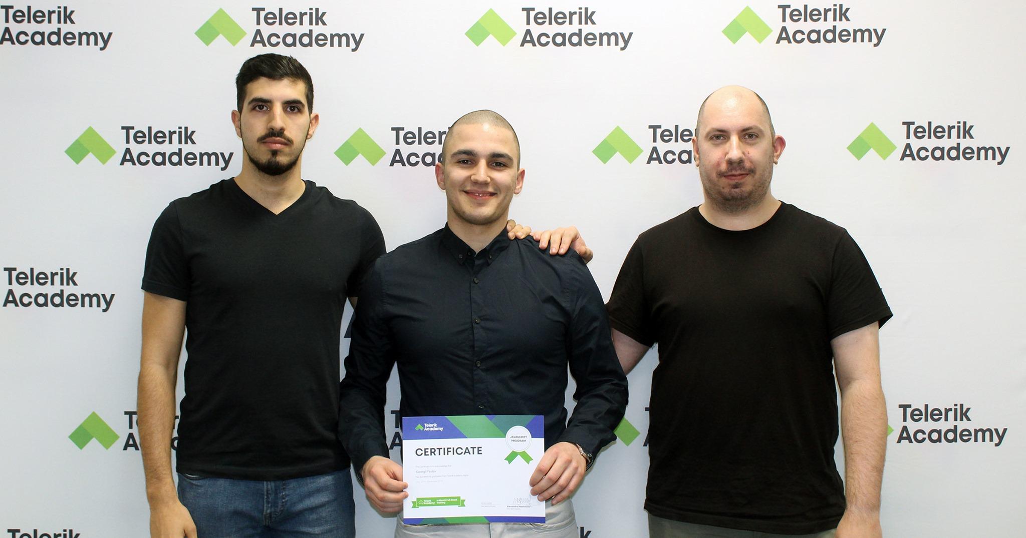 Photos of georgi pavlov, telerik academy alpha graduate with telerik academy trainers