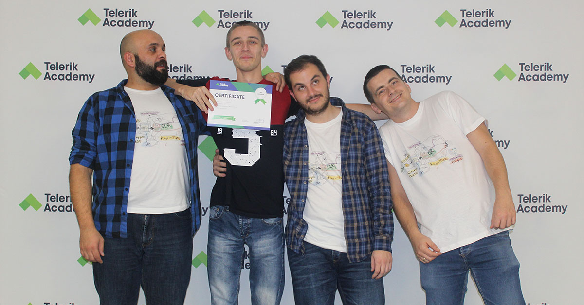 A photo of telerik academy alpha graduate with his teachers