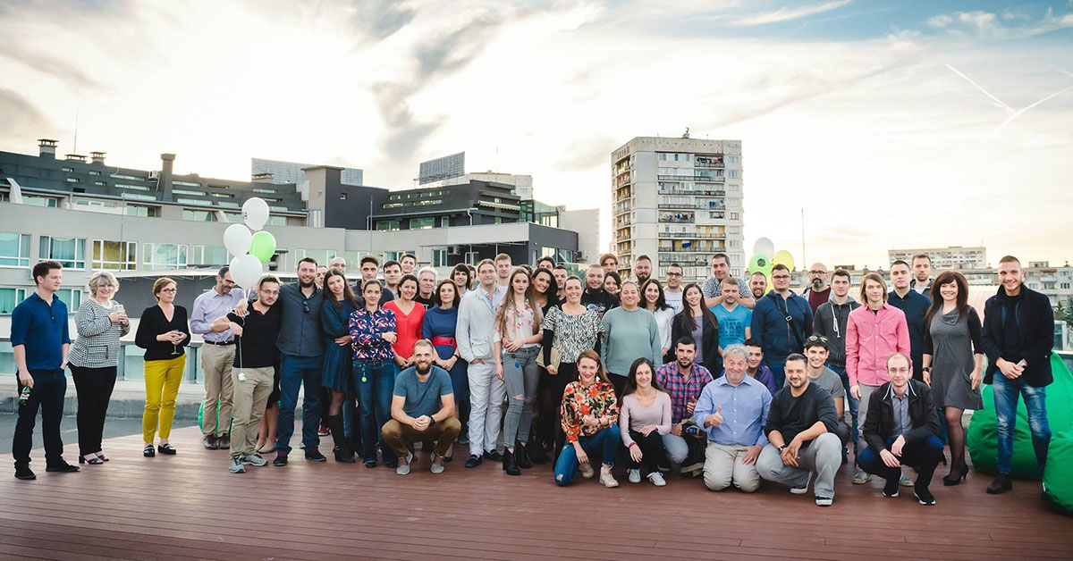Photo of Tick42 team on the roof terrace of campusx