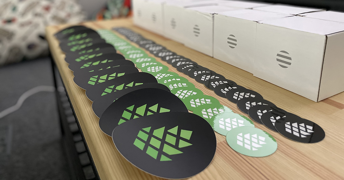 stickers with cleverpine's logo