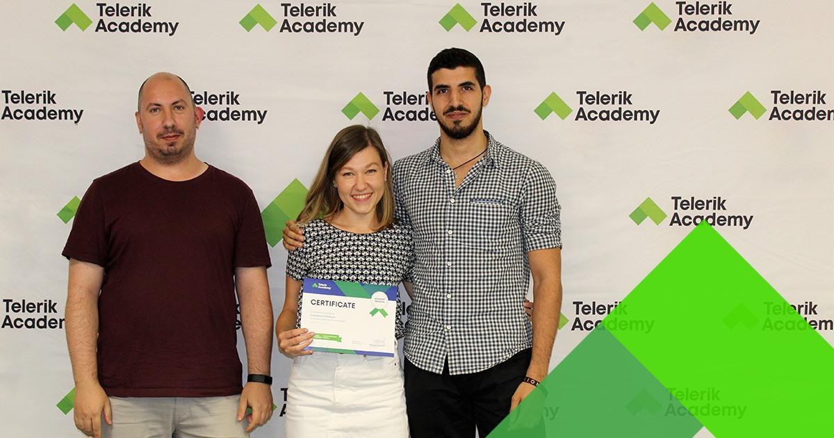 Photos of zvezdelina djokova, telerik academy alpha graduate with telerik academy trainers